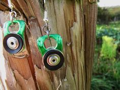 Upcycled Metal Earrings Green Ring Pull Tabs by TinkanDesigns, $8.00