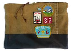 """""""Scoutmaster 83"""" large zippered pouch: made from a vintage canvas duffel bag and repurposed leather (from a vintage jacket) with authentic camporee patches from the 60's"""
