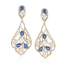 Opal and 2.85 ct. t.w. Multi-Stone Drop Earrings in 14kt Yellow Gold