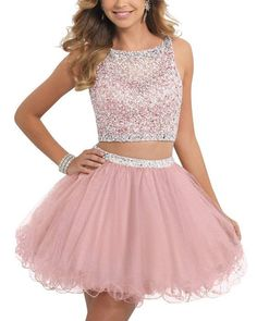 online shopping for ALW Short Beaded Homecoming Dress Two Pieces Mini Tulle Prom Gown from top store. See new offer for ALW Short Beaded Homecoming Dress Two Pieces Mini Tulle Prom Gown Two Piece Homecoming Dress, Prom Dresses Two Piece, Cheap Homecoming Dresses, Prom Dresses 2016, Cute Prom Dresses, Tulle Prom Dress, Cheap Dresses, Pretty Dresses, Short Dresses