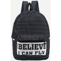 SheIn(sheinside) Letter Print Striped Canvas Backpack - Black ($13) ❤ liked on Polyvore featuring bags, backpacks, canvas bag, print canvas backpack, day pack backpack, striped canvas backpack and rucksack bag