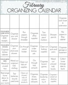 Free Printable February Organizing Calendar-- organize your home in 28 days!