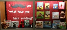 Bulletin board. Reading. Library. Mustache. Library bulletin board. Back to school. Standing Bear Elementary Library 2013-2014.@Jessica Boro you need this in your room!