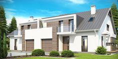 A house with a garage to the semi-detached development, with an attic and 4 comfortable bedrooms. Single Storey Extension, Semi Detached, Bay Window, Home Fashion, Dark Wood, Attic, Light Colors, House Plans, Sweet Home