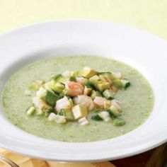 Tomatillo Gazpacho This tomatillo-based gazpacho is gorgeously green with a tart flavor that complements the sweet shrimp and salty olives. Make this meatless by substituting ricotta salata or feta for the shrimp. Serve with: Cheese quesadillas.