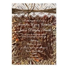 Rustic Camo Camouflage Lace and Twine Wedding Invitations