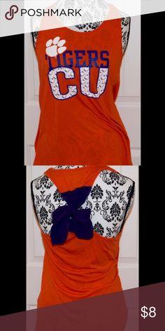 Clemson Bow Back Tank Cute NWOT Clemson orange bow back tank top.  Never worn! Size L Tops Tank Tops