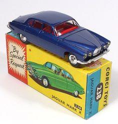 Corgi Toys 238 Jaguar MK 10 Rare Deep Blue MIB Pic by QualityDiecastToys.com