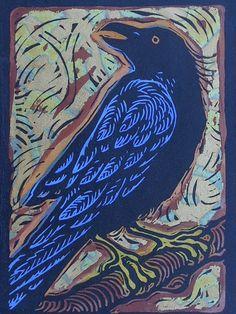 """Raven"" by Anita Hagan Linoleum Print) Crow Art, Bird Art, Art And Illustration, Linocut Prints, Art Prints, Block Prints, Arte Popular, Wood Engraving, Tampons"