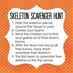 Create and play this skeleton scavenger hunt Halloween game using skeletons from your local dollar store. A fun and easy Halloween game to plan and play! Teen Halloween Party, Halloween Party Activities, Creepy Halloween Food, Halloween Games For Kids, Halloween Carnival, Halloween Birthday, Easy Halloween, Holidays Halloween, Halloween Themes