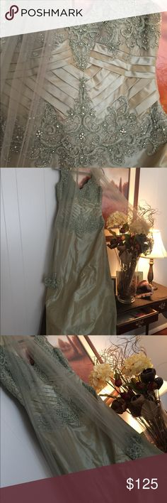 Beautiful Olive Green Evening Gown Gorgeous sequined evening gown ...olive green .. comes with sheer wrap and detachable skirt (not shown) to add more formal volume Dresses