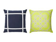 """Navy and Lime: (Left) Rizzy Home Ribbon Detail 18"""" x 18"""" cotton pillow cover, $31, wayfair.com; insert, from $11, pillowflex.com; (Rigth) Surya Kaleidoscope 22"""" x 22"""" polyester pillow, $40, smartfurniture.com"""