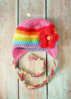 Rainbow Hat, Girls Hat, Photo Prop, Earflap Hat, Spring Hat, Toddler, Baby, Girl, Crochet
