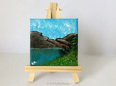 "Desk decor: Mini Acrylic Landscape Painting on Canvas 7x7cm(2.8""x2.8"") Lake Painting Nature Art Fine Art Original Art Gift Ideas Home decor"