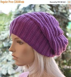 SALE 5% OFF Purple beani cap  hat lovely warm by DosiakStyle