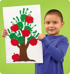 Handprint Apple Trees from Lakeshore Learning: Children will have a bushel of fun with this hands-on craft! Preschool Apple Theme, Apple Activities, Fall Preschool, Autumn Activities, Preschool Activities, Daycare Crafts, Classroom Crafts, Toddler Crafts, Crafts For Kids