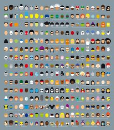 Name That Pop Culture Face [Pic]. An awesome collection of characters` faces drawn in a very minimalistic style. How many of the 315 faces can you name?