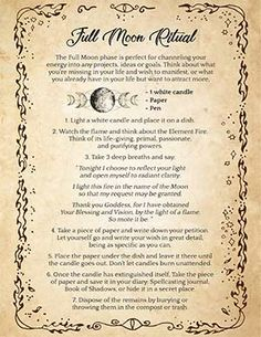 A simple spell with almost no ingredients you can cast on a Full Moon night. This PDF printable page comes with a transparent background so you can print it on any kind of paper you want and add it to your own Book of Shadows. Magick Spells, Candle Spells, Witchcraft, Full Moon Spells, Full Moon Ritual, Next Full Moon, Full Moon Night, Wiccan Spell Book, Moon Meaning