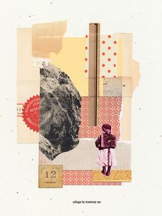 day 312 collage (landscape #12) :: vintage papers + images, cut + pasted.  #collage #design #art