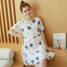 Maternity 2016 summer new large size women loose short-sleeved cotton dress Korean fashion 6023