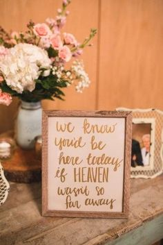 A wedding sign for family members that have passed away