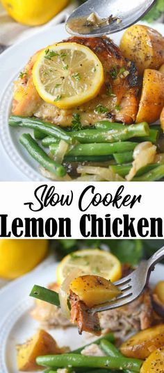 Slow cooker lemon honey chicken and vegetables is an easy one pot weeknight meal. Tender chicken, bright flavorful potatoes and fresh green beans. Crockpot Chicken And Potatoes, Slow Cooker Lemon Chicken, Beans In Crockpot, Honey Lemon Chicken, Chicken Green Beans Crockpot, Crockpot Meals, Healthy Slow Cooker, Slow Cooker Recipes, Cooking Recipes