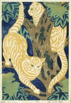 Dame Eileen Mayo (British, 1906-1994). Cats in the trees. 1931. Linocut.