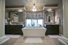 Rosevale Master Suite Gray Bathroom Kohler Freestanding tub black vanities roman shades window treatments