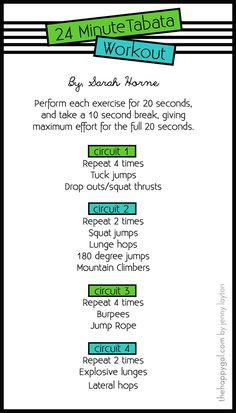 24 minute Tabata Workout description