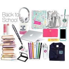 Back To School, I want to be organized, this could help, I will be the preppy one with all of the pretty school supplies College Girls, College Bags, College Life, Back 2 School, Middle School, School Stuff, What's In My Backpack, School Must Haves, Backpack Essentials