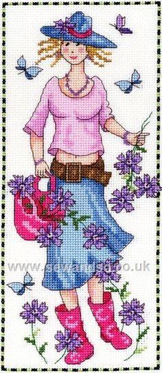 point de croix fille printemps Sophie - cross stitch spring girl