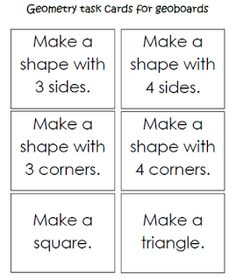 Keen On Kindergarten: Geometry Work Stations