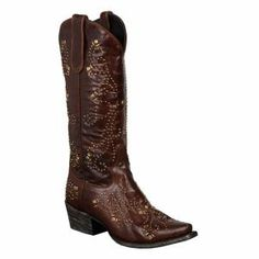 Women's 'Alyssa' Brown Leather Goldtone Studded Cowboy Boots,These classic brown leather cowboy boots are updated with goldtone studs throughout. Hitting mid-calf, these chic boots finish with a snipped toe and a traditional block heel. http://www.shop.com/tllin/1010707952-p+260.xhtml?vid=253444