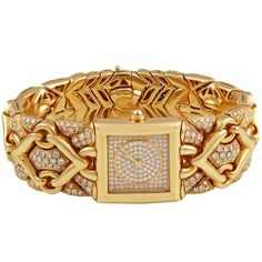 TRIKA Gold Diamond Bracelet Watch.