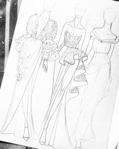 Illustrations from the Arno gallery. @ Arno_gallery … - New Sites Fashion Drawing Tutorial, Fashion Figure Drawing, Fashion Drawing Dresses, Fashion Illustration Dresses, Fashion Illustration Tutorial, Drawing Fashion, Dress Design Drawing, Dress Design Sketches, Fashion Design Sketchbook