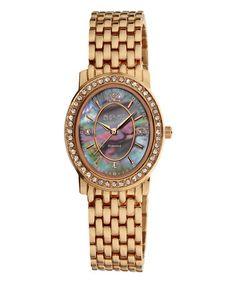 Look at this #zulilyfind! Rose Gold Dazzling Diamond Oval Bracelet Watch #zulilyfinds