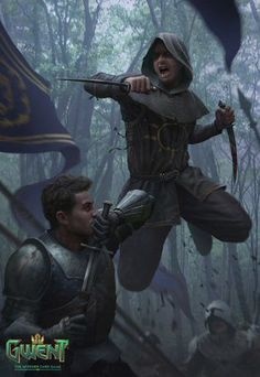 m Rogue Assassin Leather Armor Cloak Dual Shortswords Poison Ambush Deciduous forest Road story LE Barony Gwent lg High Fantasy, Medieval Fantasy, Fantasy World, Fantasy Warrior, Rogue Assassin, Witcher Art, The Witcher, Fantasy Artwork, Character Portraits