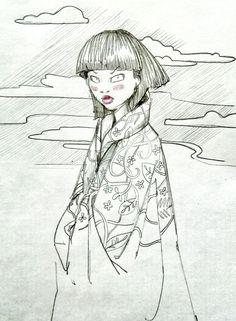 Girl in kimono sketch yar design