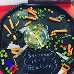 EYFS T/A on Cant wait for the children to use the reindeer soup making station today! Great for fine motor skills with some sensory Christmas Activities For Toddlers, Christmas Crafts For Kids, Winter Activities, Xmas Crafts, Winter Christmas, Christmas Decorations, Diy Crafts, Eyfs Activities, Tuff Tray