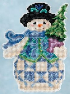 Punto De Cruz Jim Shore by Mill Hill - Winter Series - Evergreen Snowman – Stoney Creek Online Store - Kit Includes: Beads, White perf paper, needles, floss, chart and instructions. Beaded Cross Stitch, Counted Cross Stitch Kits, Cross Stitch Embroidery, Embroidery Patterns, Cross Stitch Patterns, Snowman Cross Stitch Pattern, Cross Stitch Christmas Ornaments, Christmas Cross, Christmas Tree