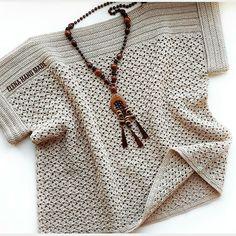 Crochet Womans Bobble Sweater Pullover with long Sleeves / Mode Crochet, Easy Crochet, Crochet Lace, Crochet Kits, Crochet Tunic Pattern, Crochet Cardigan, Crochet Patterns, Top Pattern, Summer Knitting