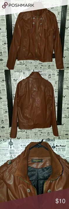 Jacket for men Never worn Lovely color SZ S. Not real leather. HONGGUOER Jackets & Coats Lightweight & Shirt Jackets
