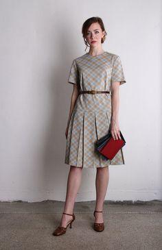 Vintage Plaid Day Dress . 1960s Mod . Drop Waist by VeraVague