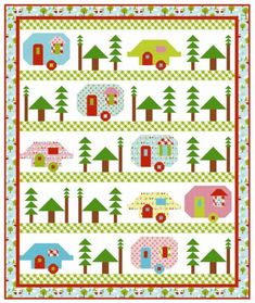 Trailerville quilt sewing pattern from Kelli Fannin Quilt Designs. The fun quilt pattern is appropriate for the confident beginner quilter. House Quilt Block, House Quilts, Quilt Blocks, Quilting Projects, Quilting Designs, Sewing Projects, Quilting Ideas, Sewing Ideas, Embroidery Designs