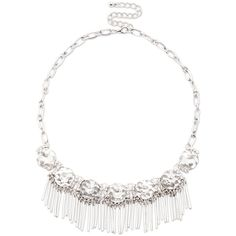 Sole Society Crystal And Fringe Statement Necklace ($40) ❤ liked on Polyvore featuring jewelry, necklaces, antique silver, crystal bib statement necklace, statement necklace, chain statement necklace, adjustable necklace and fringe necklace