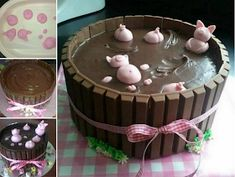 Kit cat cake with pigs-Kit kat tårta m grisar Kit cat cake with pigs - Kit Cat Cake, Cake Kit, Food Cakes, Cupcake Cakes, Kitkat Torte, Pigs In Mud Cake, Birthday Cake For Women Simple, Piggy Cake, Barrel Cake