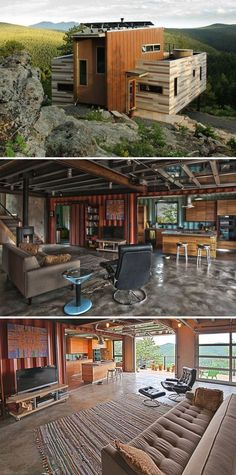 10 Gorgeous Shipping Container Homes - This Colorado shipping container home was designed by Studio H:T and features a hybrid design. Build your own shipping container home! Shipping Container Interior, Cargo Container Homes, Shipping Container Home Designs, Building A Container Home, Storage Container Homes, Container House Design, Shipping Containers, Shipping Container Buildings, Container Store