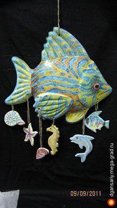большая морская рыба - керамика, дизайнерская подвеска/кашпо. МегаГрад - авторская ручная работа