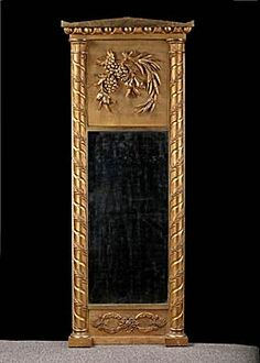 Italian Antique Giltwood Empire Trumeau