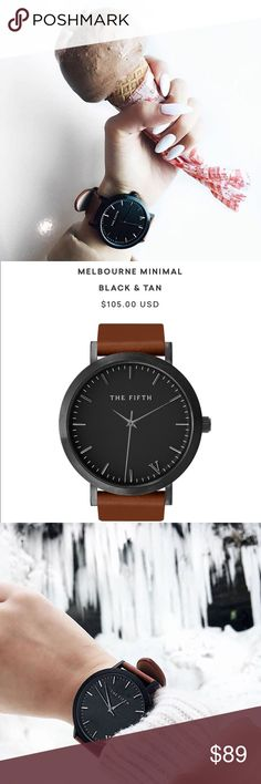 Melbourne Minimal black & tan Not DW! THE FIFTH WATCH. Authentic. BRAND NEW! Unisex watch. Comes with box and authenticity card. SPECIFICATIONS: Brushed Black Casing 316L Stainless Steel Bezel Hardened Mineral Crystal Lens Japanese Quartz Movement Water Resistant 5ATM Face Diameter 43.0mm Italian leather 20mm wide band Daniel Wellington Accessories Watches